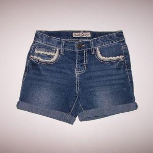 Girls Vanilla Star Crochet Accent Jean Shorts 10